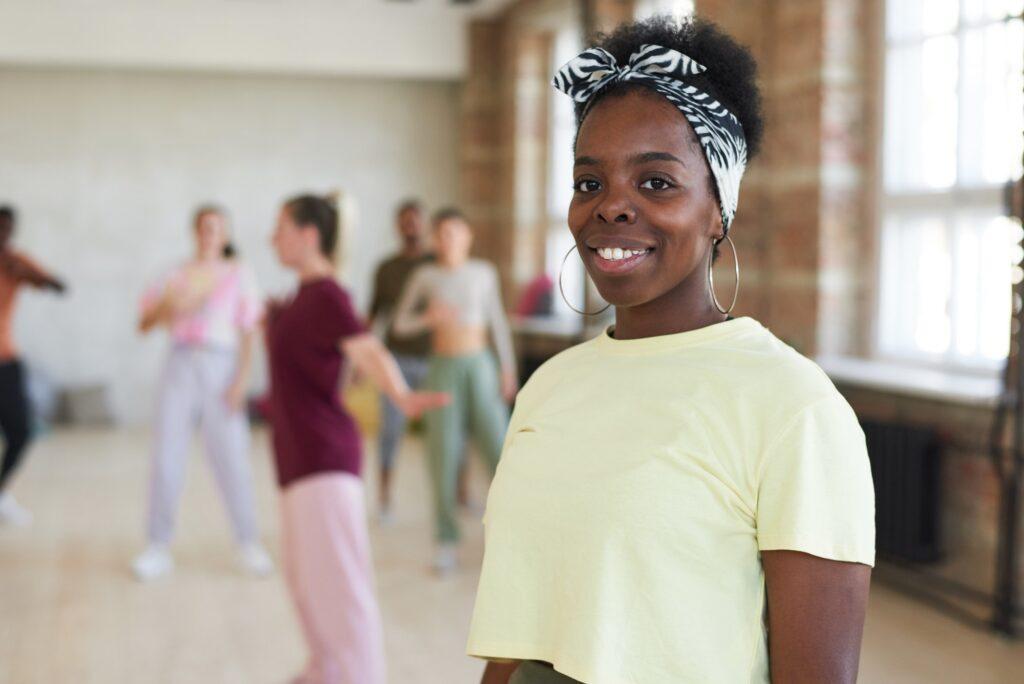 African dancer at sport club
